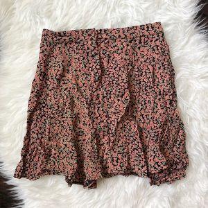 Brandy Melville Pink Floral Mini Skirt